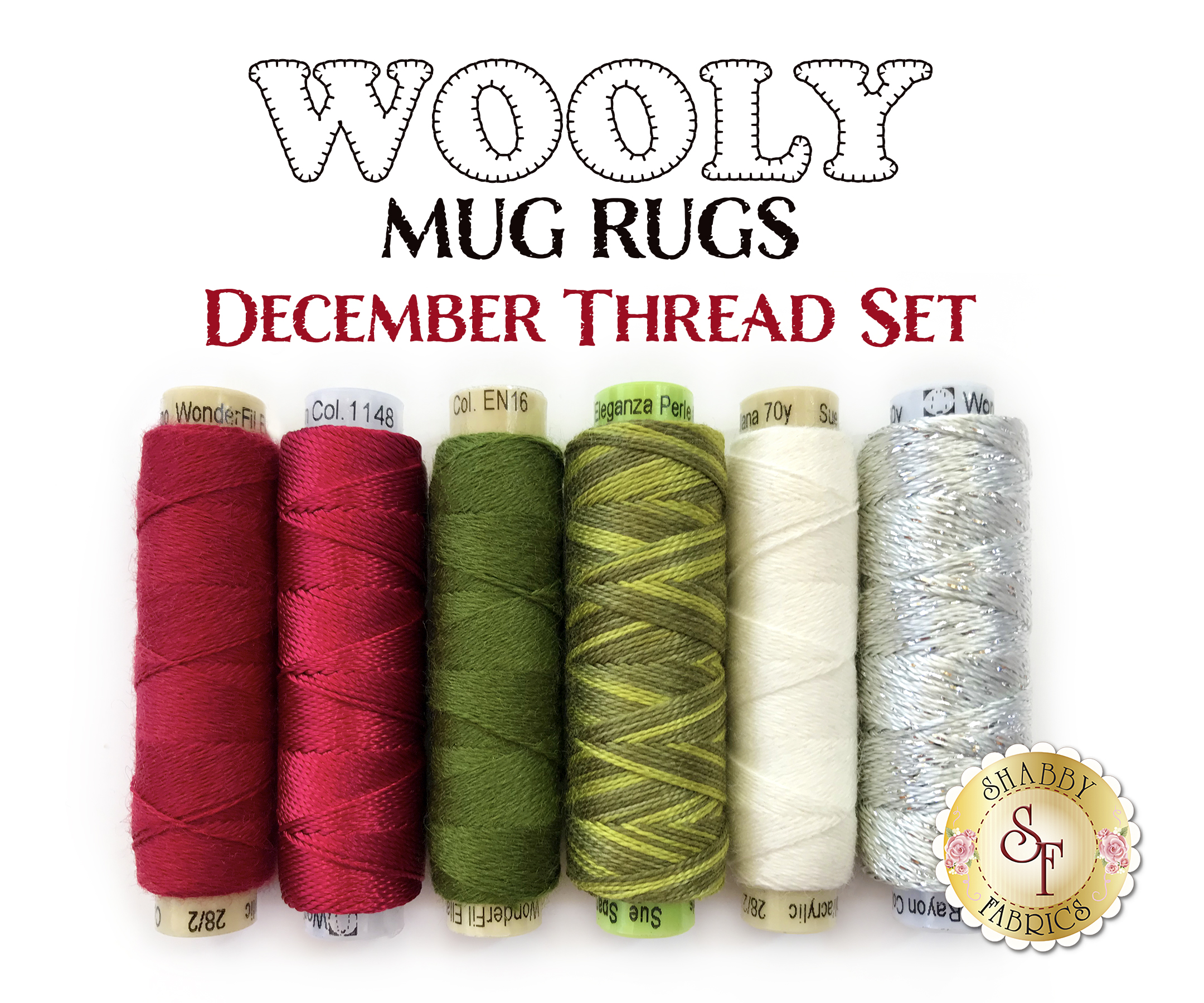 Wooly Mug Rugs December Hand Embroidery Thread Set Lined up on white background