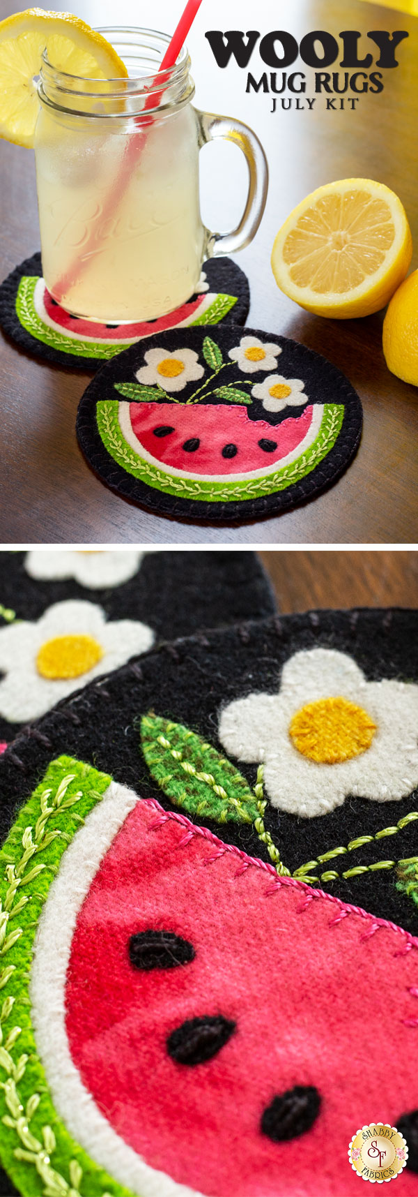 Photo of july wooly mug rugs with a glass of lemonade on the table, close up image of watermelon coasters below it.